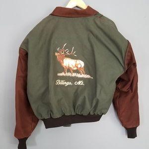 Vintage Embroidered Color Block Bomber Jacket Elk
